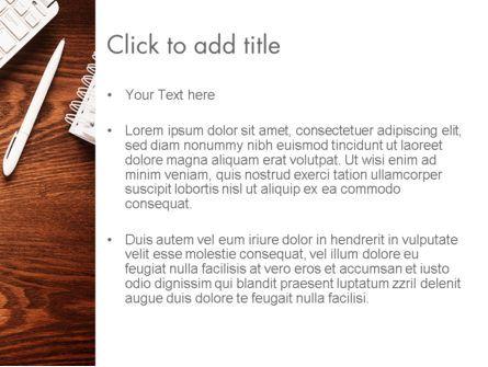 Top View on Wooden Desk PowerPoint Template, Slide 3, 13954, Business Concepts — PoweredTemplate.com