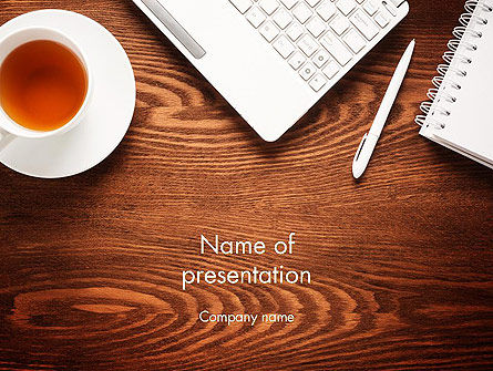 Top View on Wooden Desk PowerPoint Template