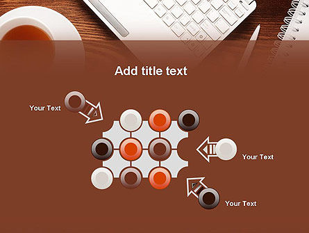 Top View on Wooden Desk PowerPoint Template Slide 10