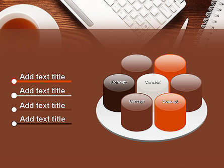Top View on Wooden Desk PowerPoint Template Slide 12