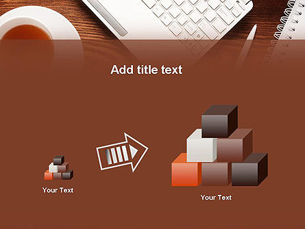 Top View on Wooden Desk PowerPoint Template Slide 13