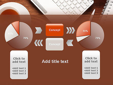 Top View on Wooden Desk PowerPoint Template Slide 16