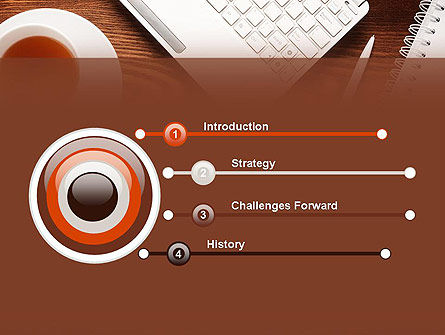 Top View on Wooden Desk PowerPoint Template, Slide 3, 13954, Business Concepts — PoweredTemplate.com