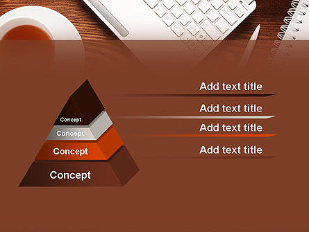 Top View on Wooden Desk PowerPoint Template Slide 4