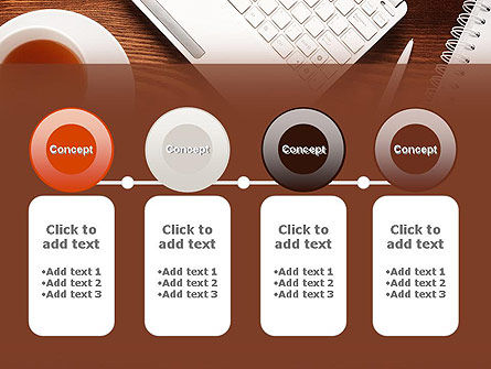Top View on Wooden Desk PowerPoint Template Slide 5