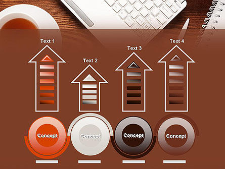 Top View on Wooden Desk PowerPoint Template Slide 7