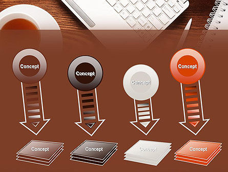 Top View on Wooden Desk PowerPoint Template Slide 8