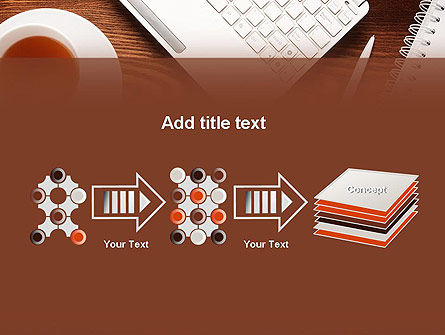 Top View on Wooden Desk PowerPoint Template Slide 9