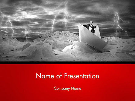 Lost Alone Businessman Sailing in Stormy Papers Sea PowerPoint Template