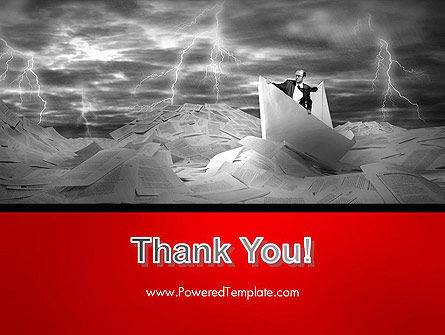 Lost Alone Businessman Sailing in Stormy Papers Sea PowerPoint Template Slide 20