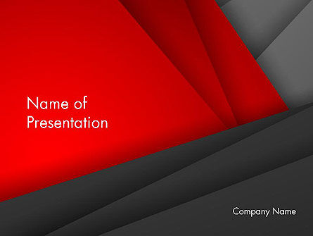 Folded Red and Gray Layers Abstract PowerPoint Template