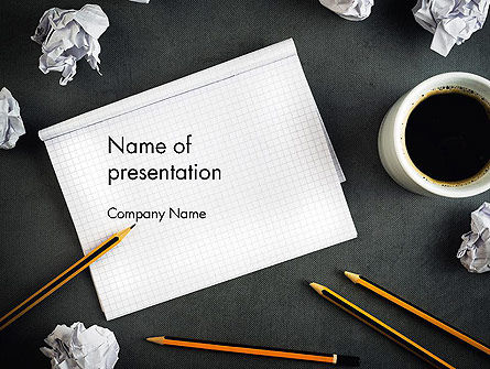 Notepad with Crumpled Pages PowerPoint Template