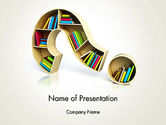 Education & Training: Question Mark With Books PowerPoint Template #13974