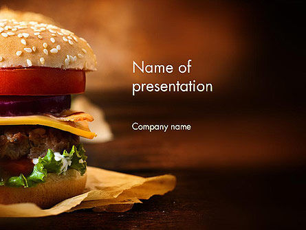Gourmet Burger PowerPoint Template, 13981, Food & Beverage — PoweredTemplate.com