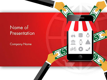 Online Mobile Purchases PowerPoint Template, 13983, Careers/Industry — PoweredTemplate.com
