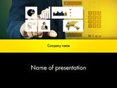Technology and Science: Touching Report Research Data PowerPoint Template #13990