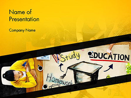 Education & Training: Studying Homework PowerPoint Template #13994
