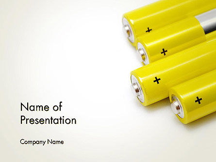 Yellow Batteries PowerPoint Template, 14000, Technology and Science — PoweredTemplate.com