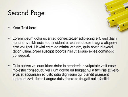 Yellow Batteries PowerPoint Template, Slide 2, 14000, Technology and Science — PoweredTemplate.com