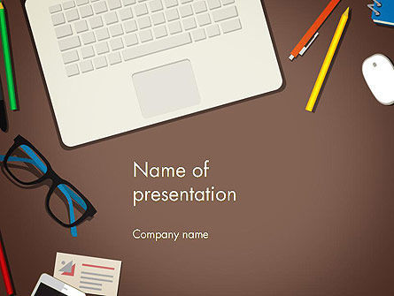 Office Workspace Top View PowerPoint Template
