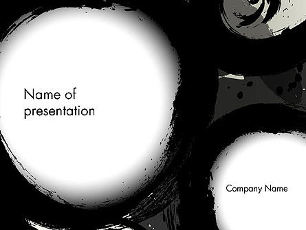 Abstract/Textures: Black Circle Outline Traces Abstract PowerPoint Template #14023