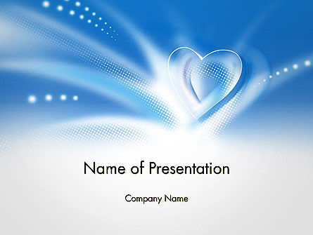 Holiday/Special Occasion: Blue Heart Background PowerPoint Template #14037
