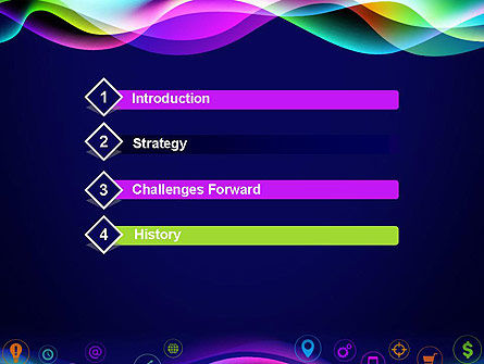 Colorful Wave with App Icons PowerPoint Template Slide 3