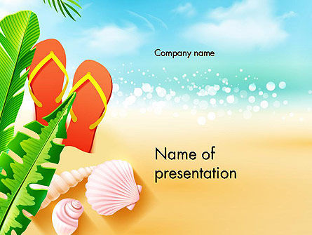 Sunny Beach PowerPoint Template, 14059, Holiday/Special Occasion — PoweredTemplate.com