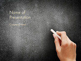 Education & Training: Female Hand Writing by White Chalk on Blackboard PowerPoint Template #14063