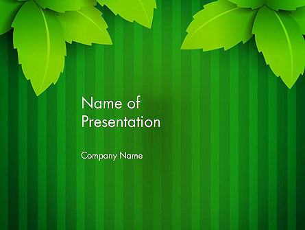 Green Leaf Theme PowerPoint Template, 14069, Nature & Environment — PoweredTemplate.com