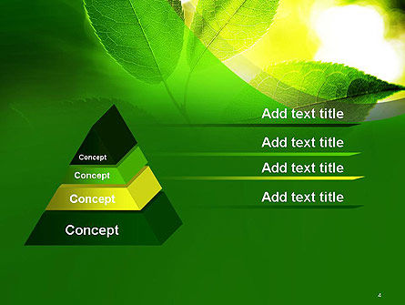 Translucent Green Leaf PowerPoint Template, Slide 4, 14108, Nature & Environment — PoweredTemplate.com