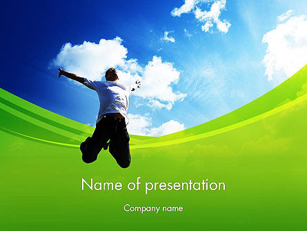 Jump Into the Sky PowerPoint Template, 14112, People — PoweredTemplate.com