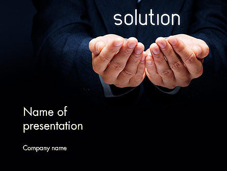 Consulting: Businessman Holding Solution PowerPoint Template #14123