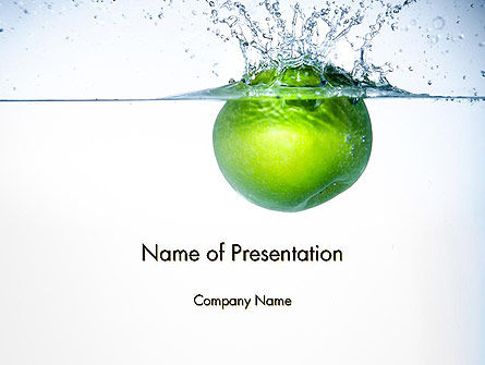 Food & Beverage: Green Apple Falling Into Water PowerPoint Template #14136