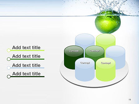 Green Apple Falling Into Water PowerPoint Template Slide 12