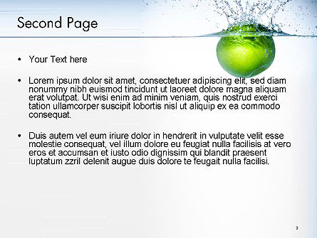 Green Apple Falling Into Water PowerPoint Template Slide 2