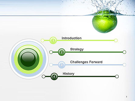 Green Apple Falling Into Water PowerPoint Template Slide 3