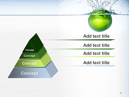 Green Apple Falling Into Water PowerPoint Template Slide 4