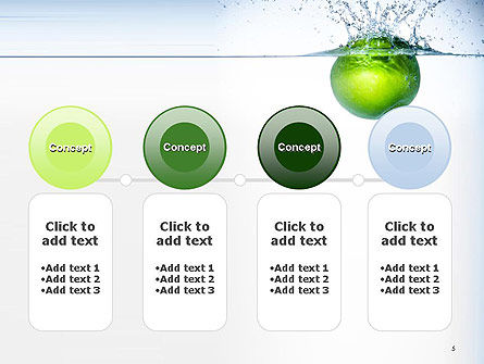 Green Apple Falling Into Water PowerPoint Template Slide 5