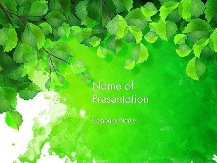 Watercolor Spot with Green Leaves PowerPoint Template