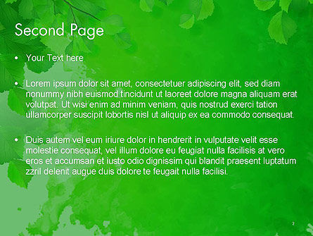 Watercolor Spot with Green Leaves PowerPoint Template Slide 2
