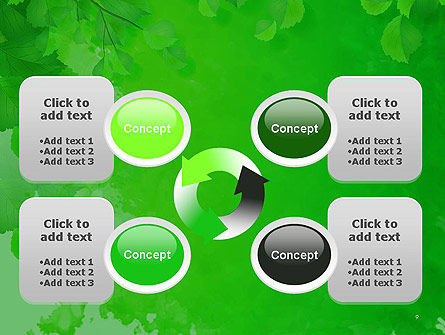Watercolor Spot with Green Leaves PowerPoint Template Slide 9