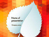 Abstract/Textures: Paper Leaf on Orange Background PowerPoint Template #14148