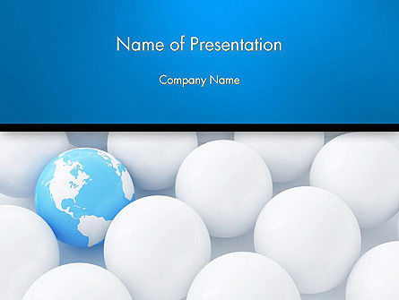 Globe in Among White Balls PowerPoint Template, 14150, Global — PoweredTemplate.com