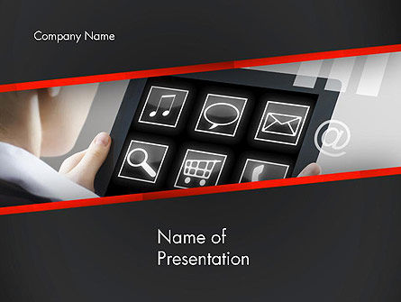 Woman Holding Tablet PC PowerPoint Template, 14151, Technology and Science — PoweredTemplate.com