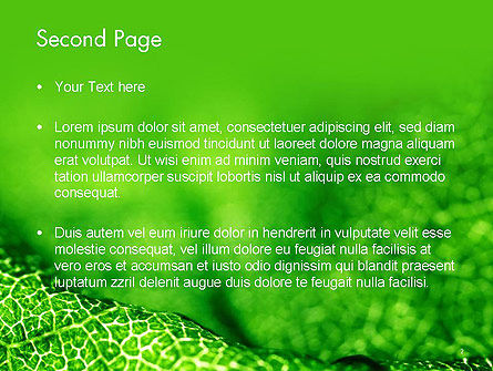 Green Leaf Texture PowerPoint Template, Slide 2, 14155, Nature & Environment — PoweredTemplate.com