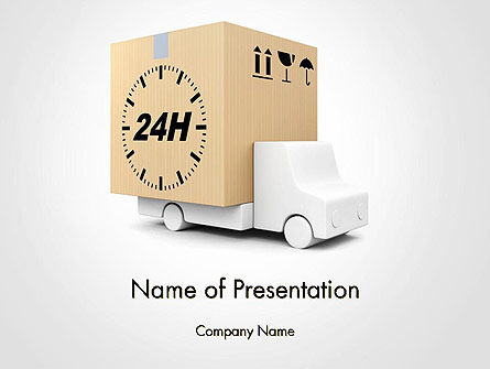 Delivery Van PowerPoint Template, 14156, Cars and Transportation — PoweredTemplate.com