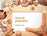 Careers/Industry: Sea Shells and Blank Frame PowerPoint Template #14159