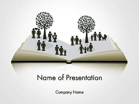 Clipart of Tree and People on Opened Book PowerPoint Template, 14173, Education & Training — PoweredTemplate.com