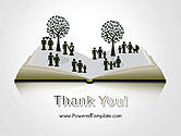 Clipart of Tree and People on Opened Book PowerPoint Template#20